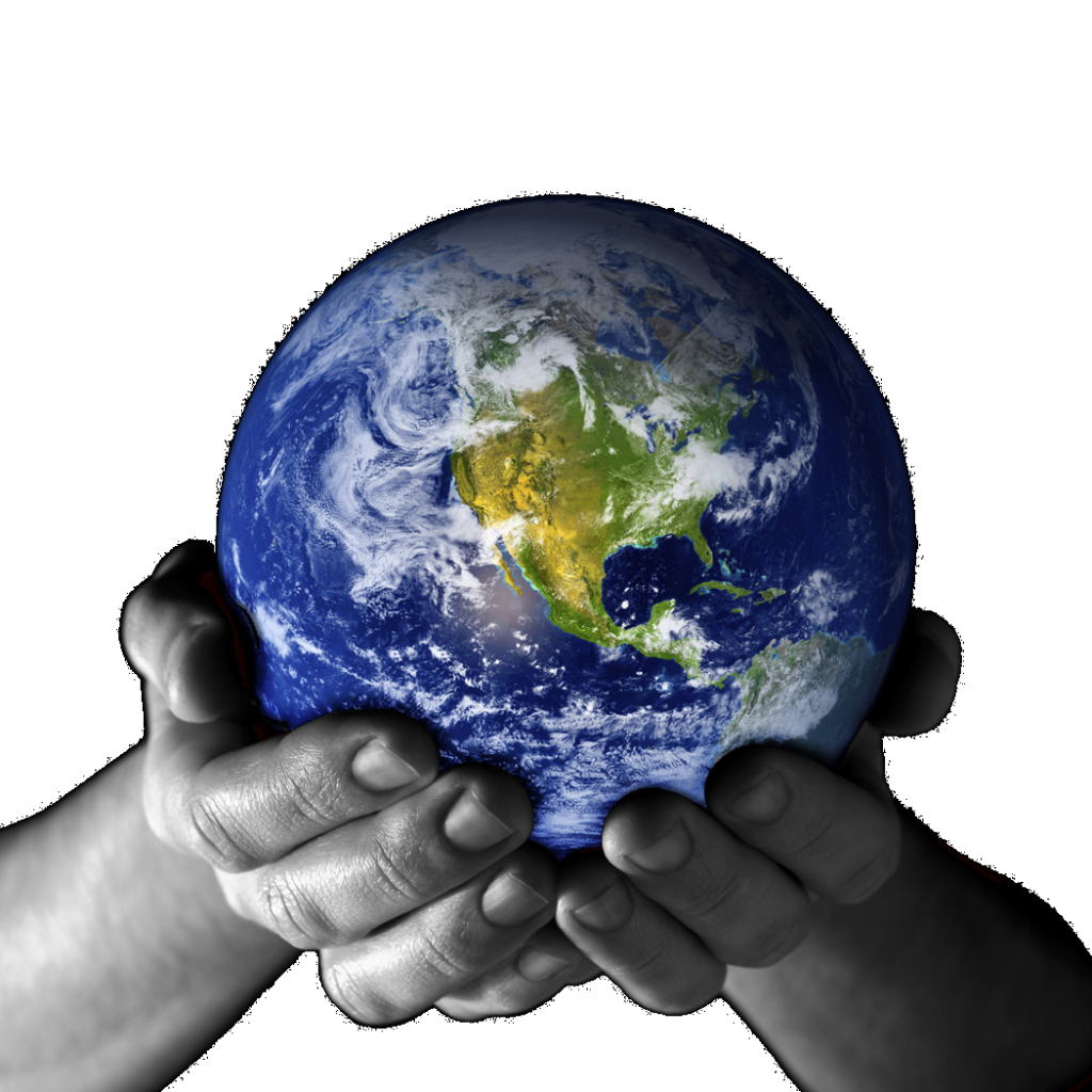 human hands holding earth representing our duty as a company to take care of earth, commuity around us, and people.