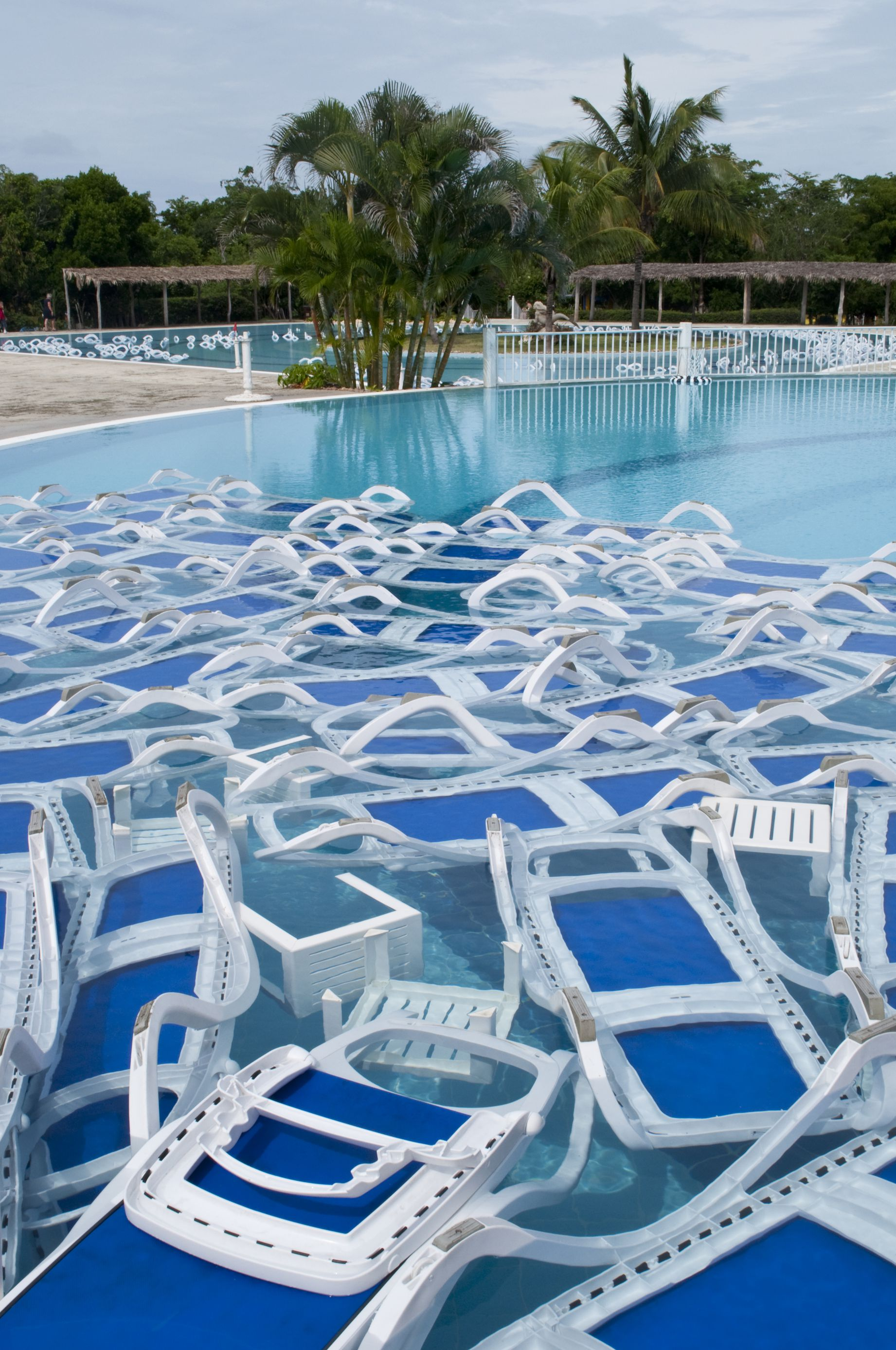 Furniture in pool for hurricane preperation