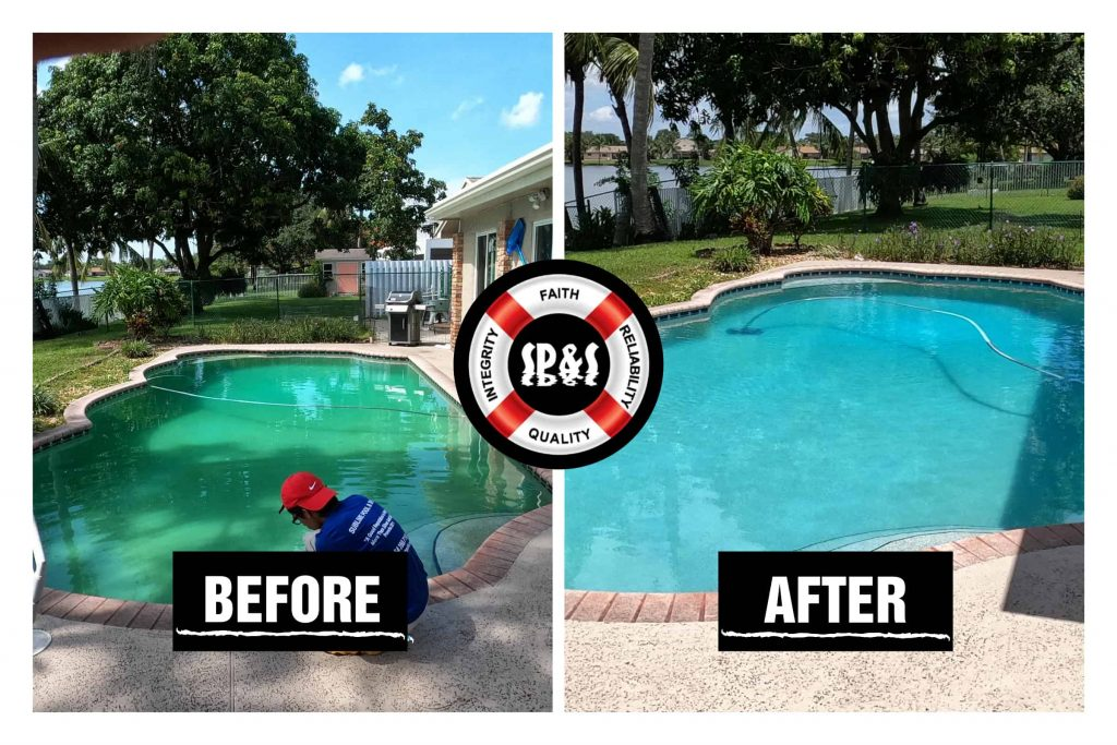 Before and after of a green pool restoration done by Sublime Pools & Spa