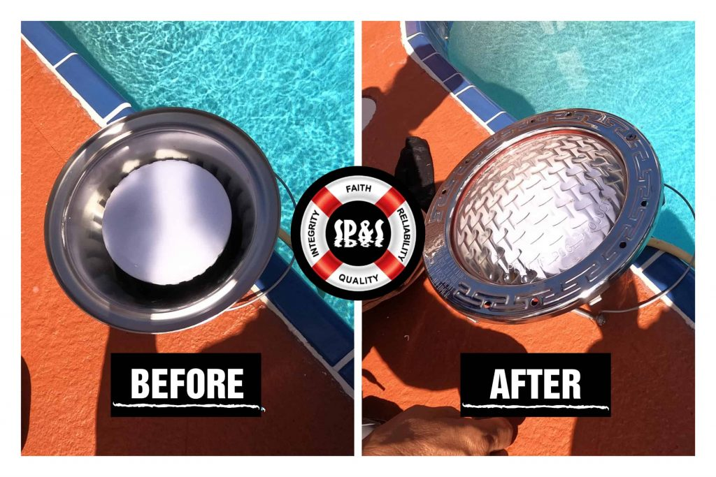 Before and after of a LED light installed on the deep end of a pool that TRANSFORMED the beauty of the pool.
