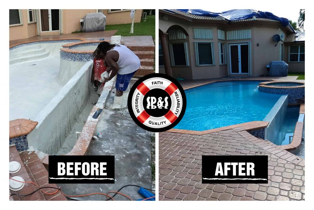Before and after of a diamond brite renovation with a spa combination done in Plantation Florida. Pool contains a pool and spa combo with water features