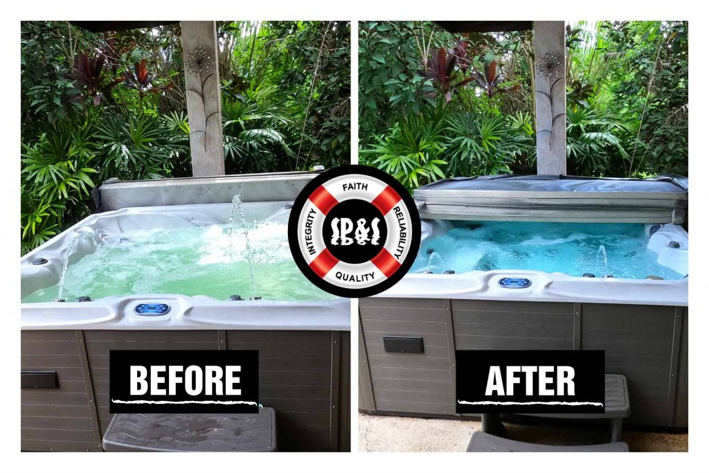 Images show a before and after of a spa that was not taken well care of by another pool company so we had to come in and chemically balance the PH levels to restore it to its pristine beauty.