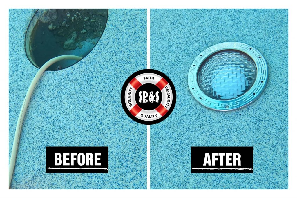 two images being compared as before and after showing the old light hanging while the after shows the brand new pool light installed