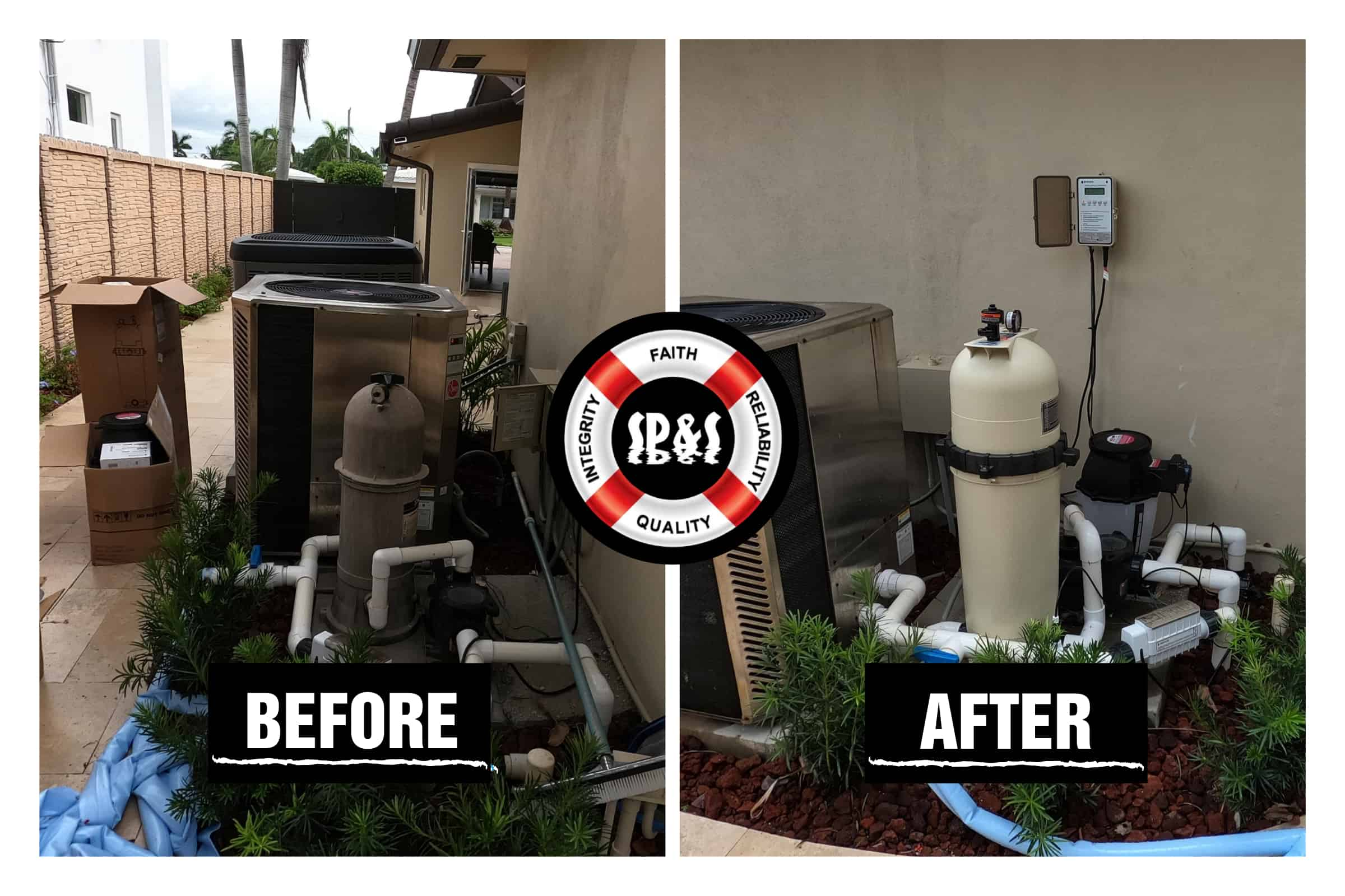 Before and after of new pool equipment installed using the best brands in the pool industry
