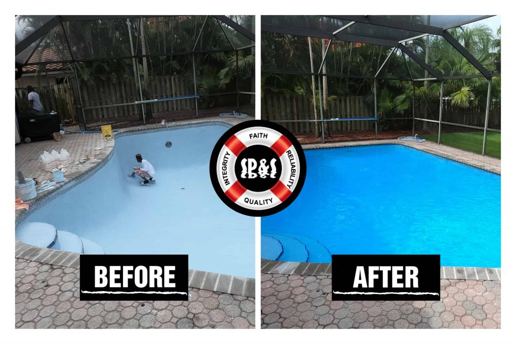 blue diamond brite renovation. One man prepping the swimming pool for a diamond brite renovation