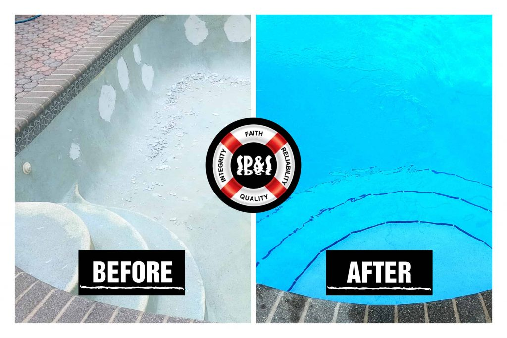 Before and after of diamond brite renovation plus swimming pool step tiles remodeling