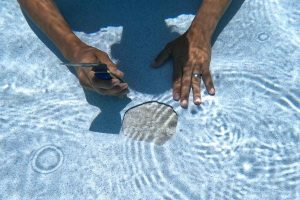 underwater photo of a pool delamination being fixed by Sublime Pools & Spa