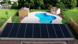 solar pool heater system on roof