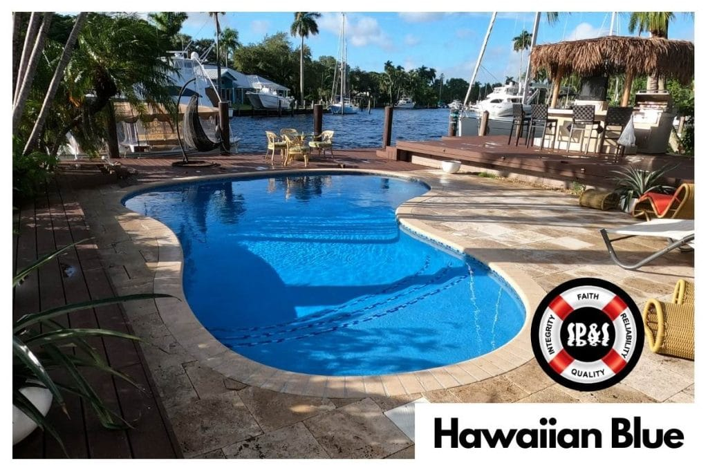 Lakeside Swimming Pool with Florida Stucco's Hawaiian Blue Finish done by Sublime Pools & Spa