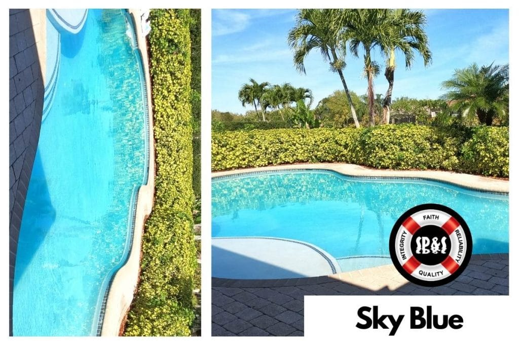 Swimming Pool with Florida Stucco's Sky Blue Finish done by Sublime Pools & Spa