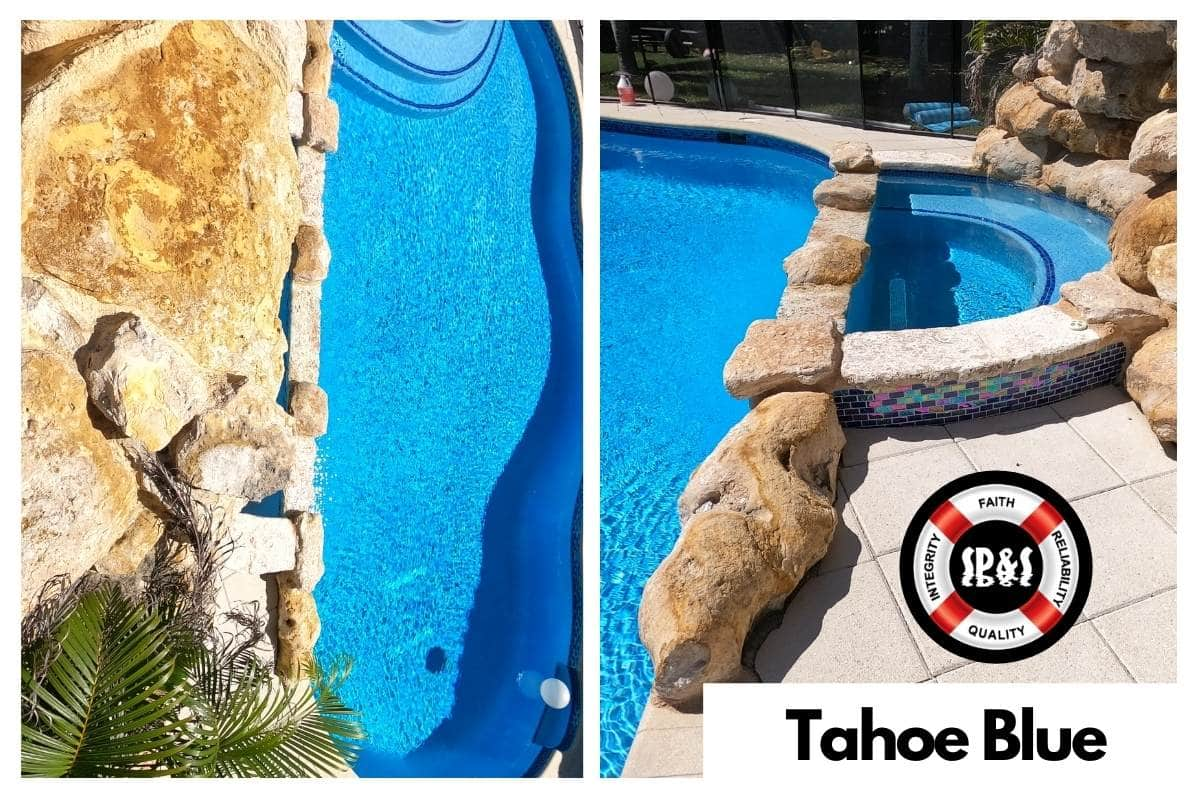 Diamond Brite Tahoe Blue Finish done by Sublime Pools & Spa, includes a swimming pool and spa with a water-fountain and slide with rocks.