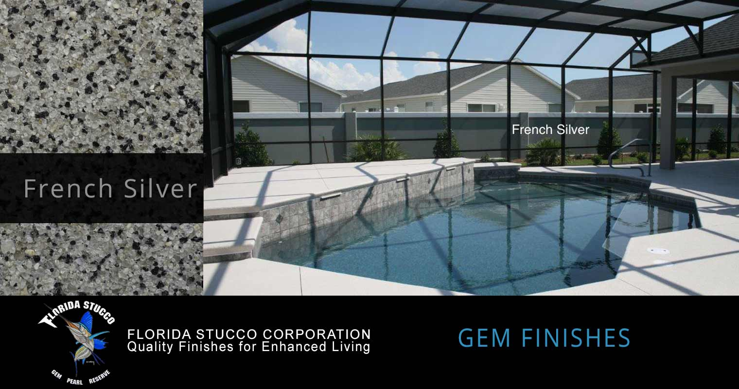 Florida Stucco - French Silver Plastering Finish Pool Sample 1
