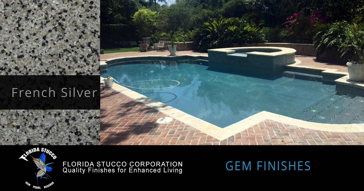 Florida Stucco - French Silver Plastering Finish Pool Sample 2