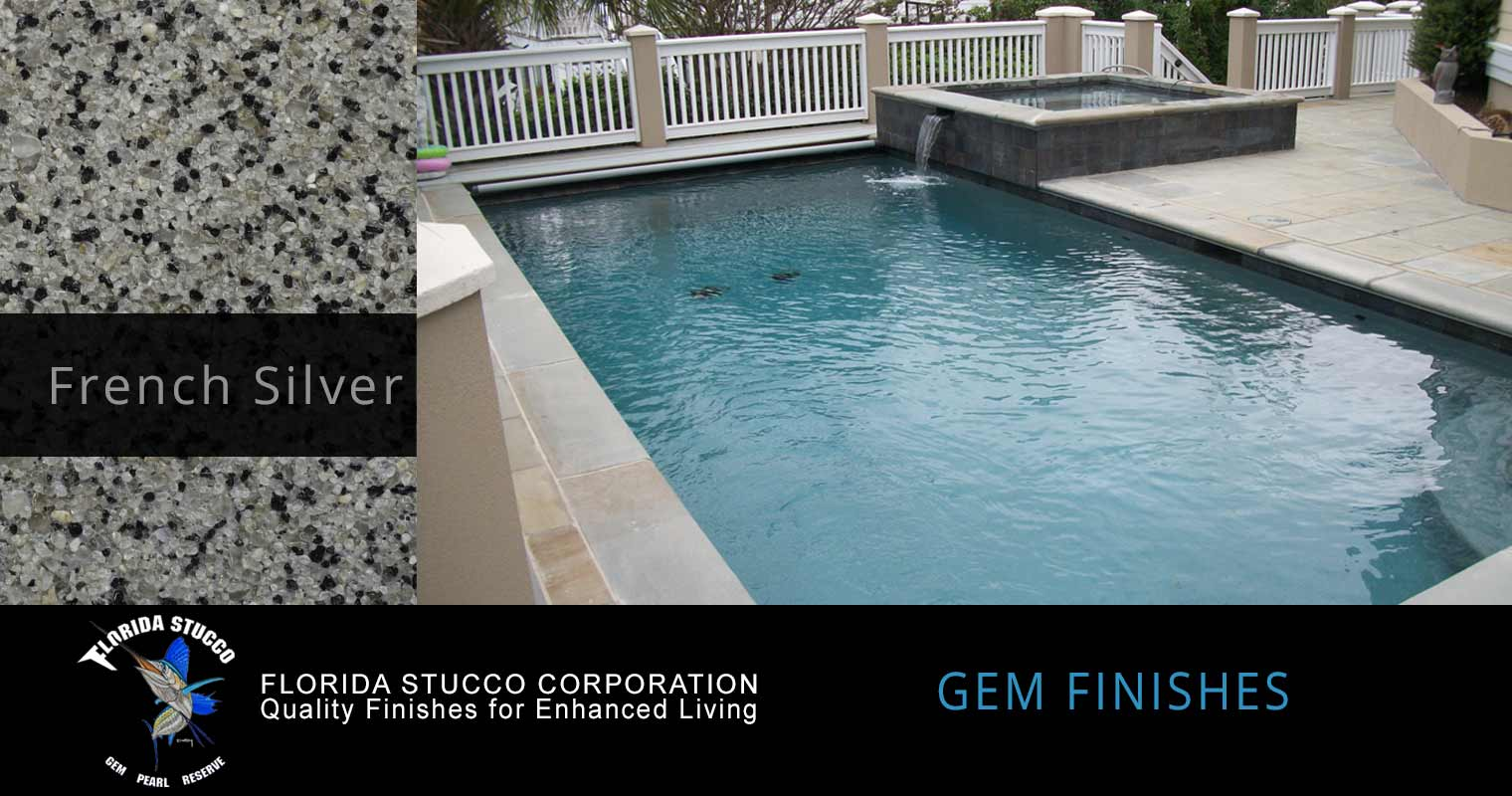 Florida Stucco - French Silver Plastering Finish Pool Sample 3