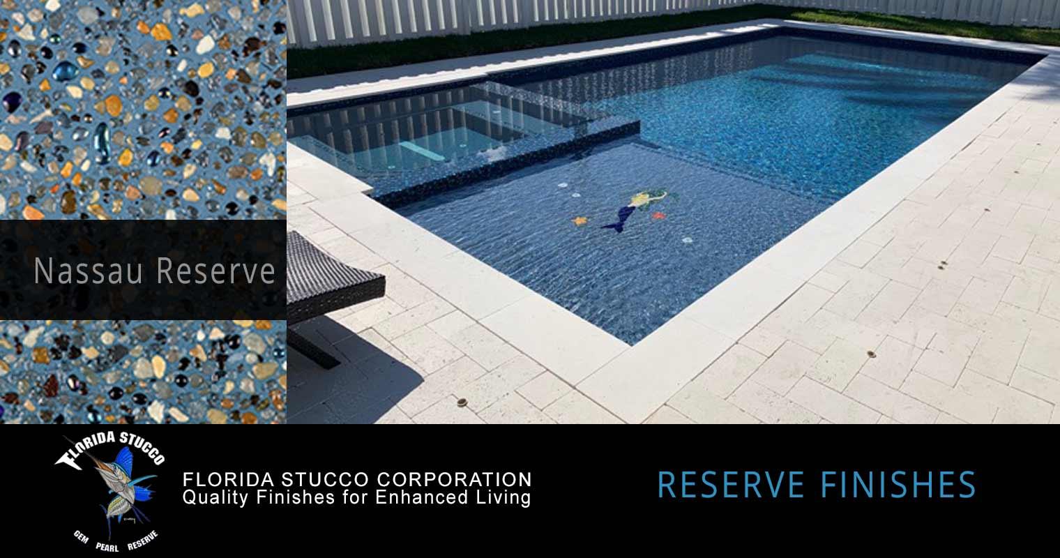 Florida Stucco - Nassau Reserve Gem and Glass Plastering Pool Sample Finish
