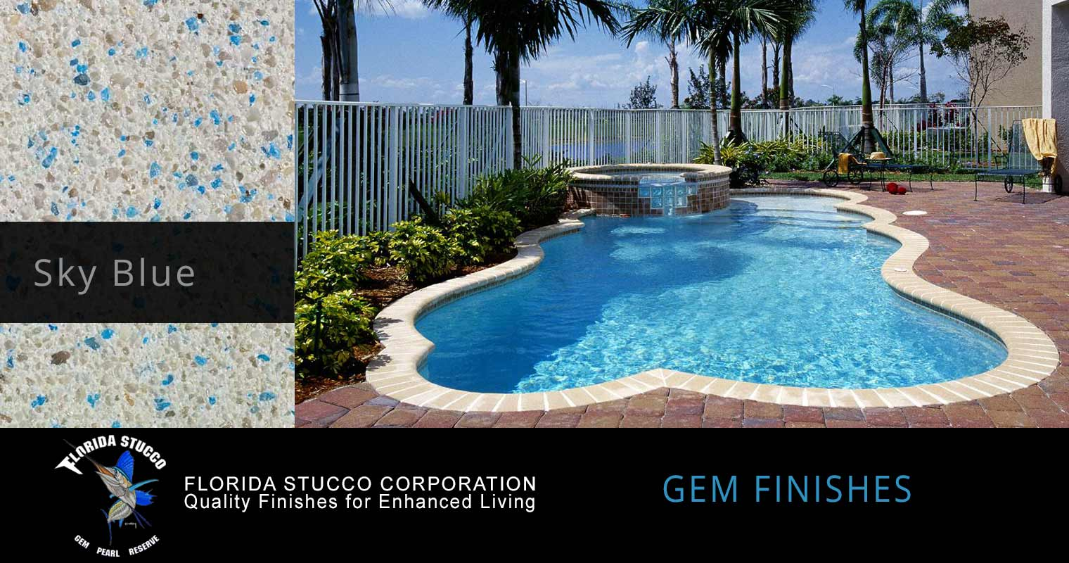Florida Stucco - Sky Blue Plastering Finish Pool Sample 1