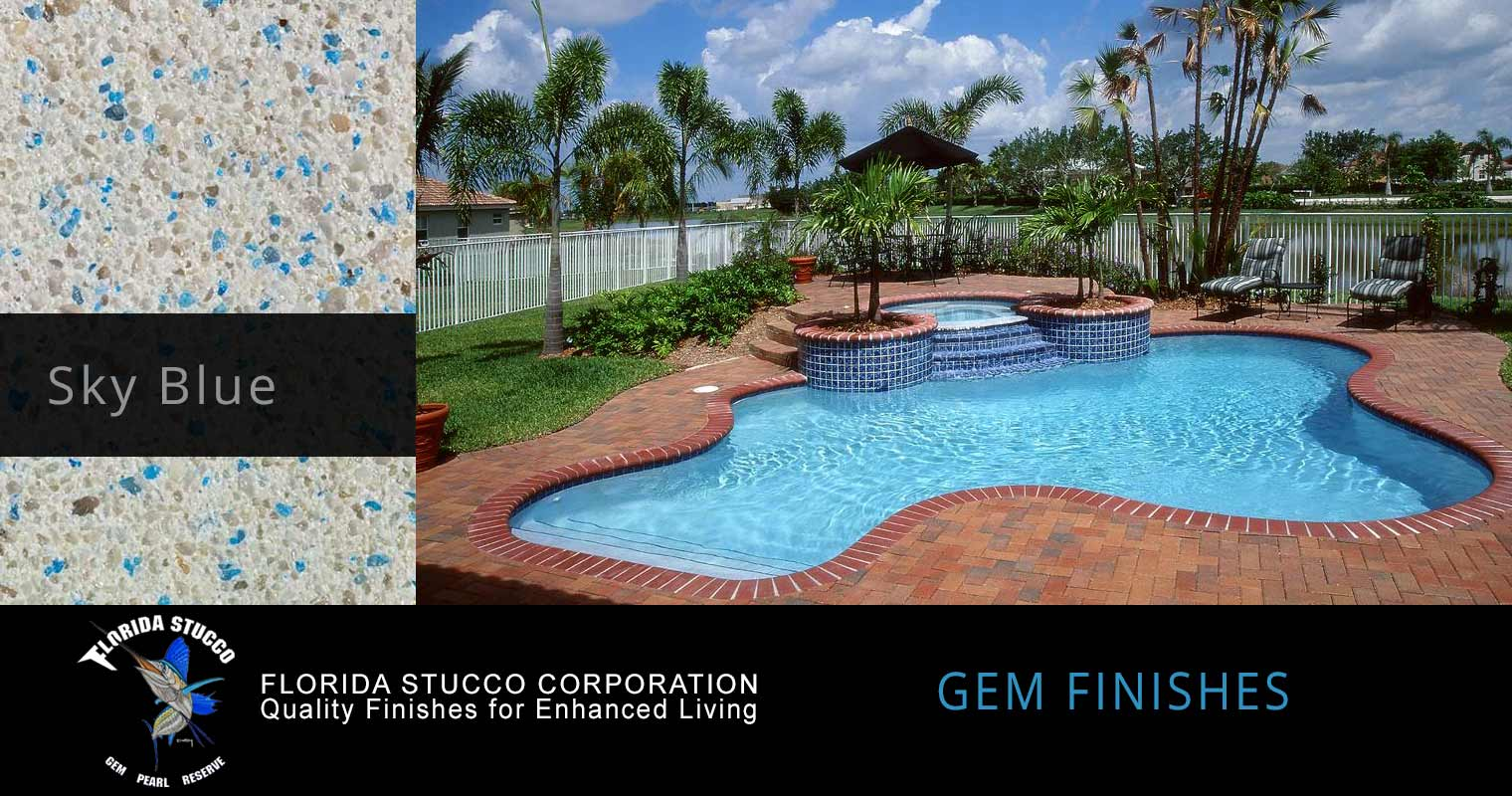 Florida Stucco - Sky Blue Plastering Finish Pool Sample 2