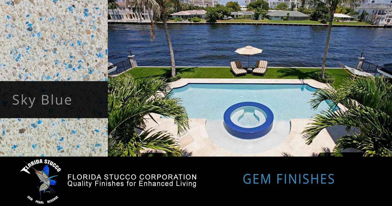 Florida Stucco - Sky Blue Plastering Finish Pool Sample 3