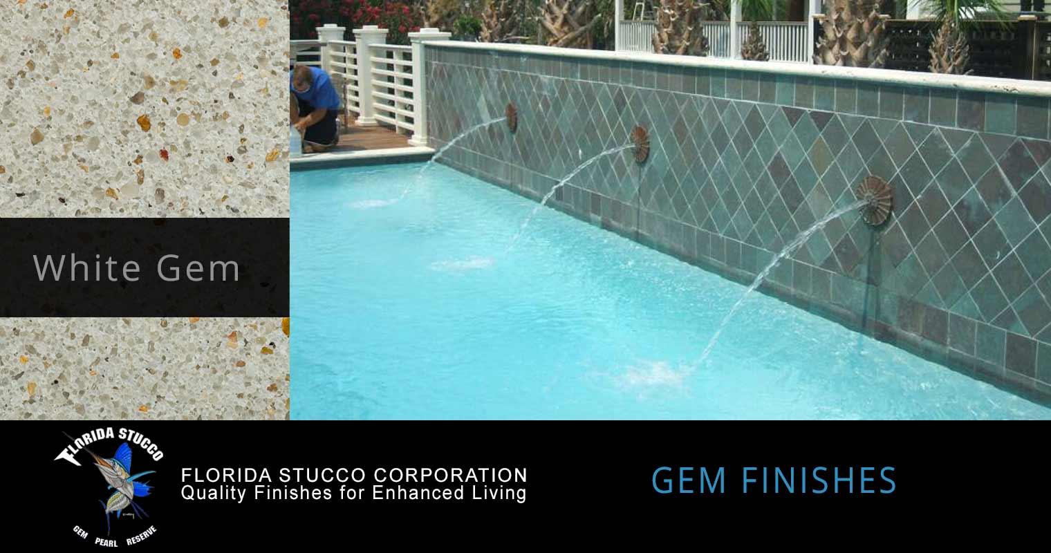 Florida Stucco - White Gem Plastering Finish Pool Sample 1