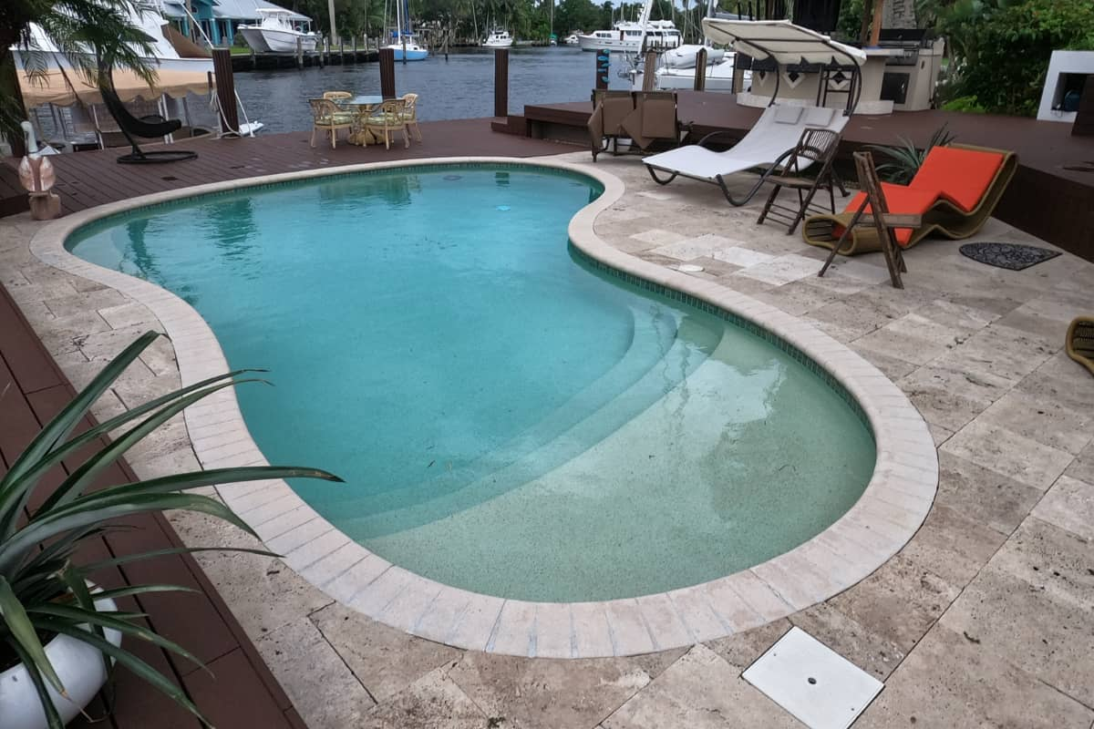 Before photo of a pool renovation