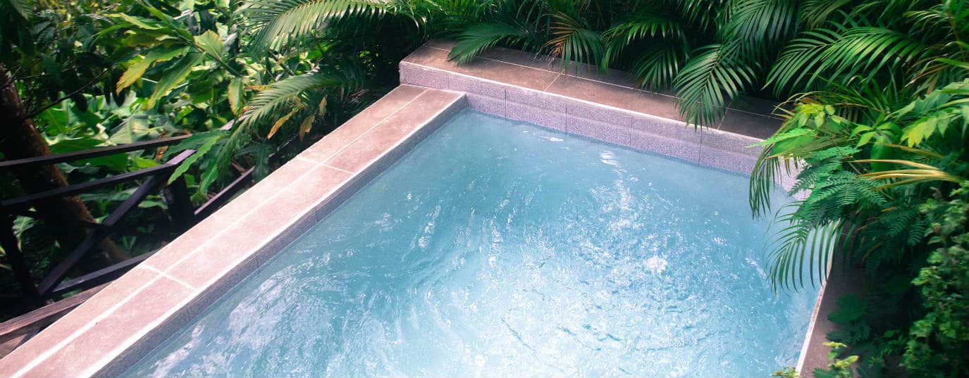 Swimming Pool in The Jungle Using Eco-Friendly Ozonator and Saltwater Generators to Keep Pool Blue