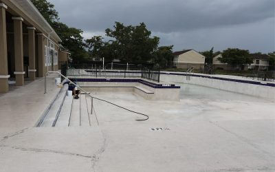 Pool getting drained and cleared for preperation for a Diamond Brite Resurfacing job by Sublime Pools & Spa